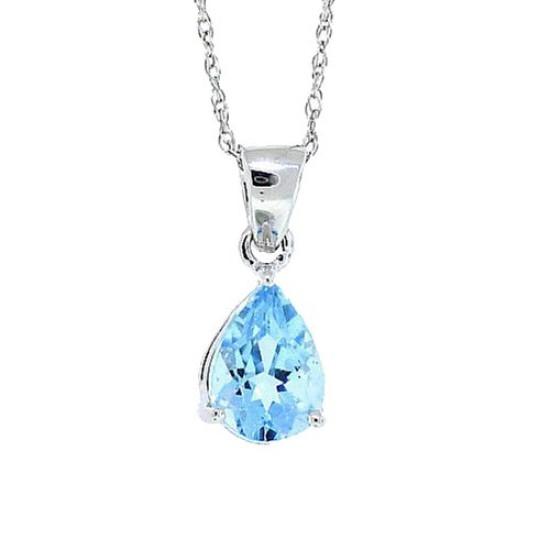 1.00 ct.t.w.Pear Shaped Genuine Aquamarine Pendant Necklace 14Kt White Gold
