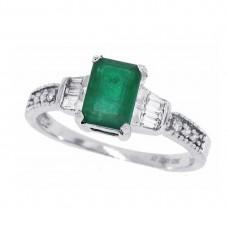 1.25 ct.t.w.Emerald Cut Genuine Emerald Diamond Ring 10Kt White Gold