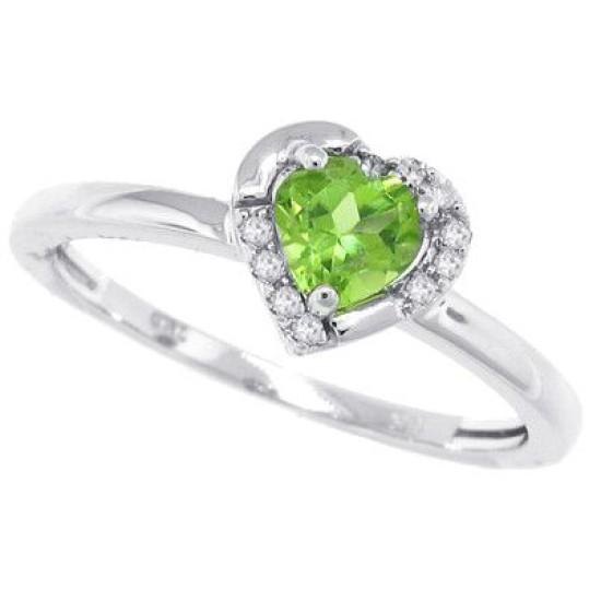 Heart Shaped Genuine Peridot and Diamond Ring 10Kt White Gold