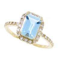Emerald Cut, Aquamarine and Diamond Ring,10kt Yellow Gold