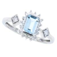Emerald Cut Aquamarine Diamond Right Hand Ring 10Kt White Gold 0.68cttw