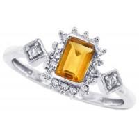 0.62 ct.t.w.Emerald Cut Genuine Citrine and Diamond Ring 10Kt White Gold