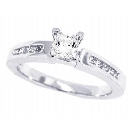 Princess Cut Diamond Engagement Ring 14Kt White Gold Cubic Zirconia Center 0.75cttw
