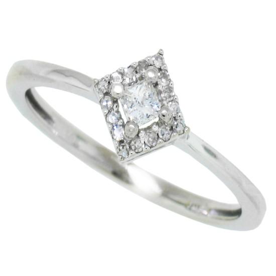 Princess Cut Diamond Engagement Ring 10Kt White Gold 0.38 cttw