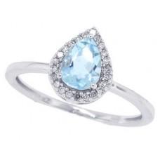 0.94 ct.t.w.Pear Shaped Genuine Aquamarine Diamond Halo Ring 10Kt White Gold