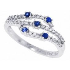 0.33 ct.t.w.Genuine Sapphire Diamond Right Hand Ring 14Kt White Gold