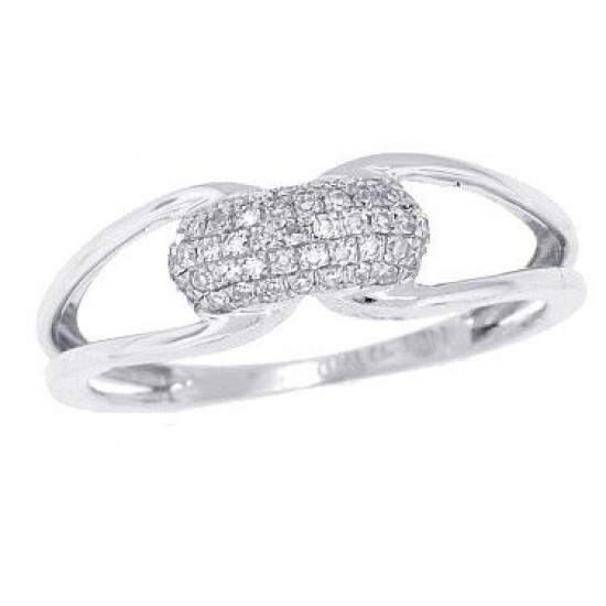 Pave Set Genuine Diamond Band in 10Kt White Gold