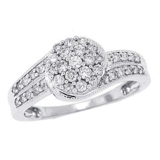 10Kt White Gold Genuine Diamond Cluster Ring