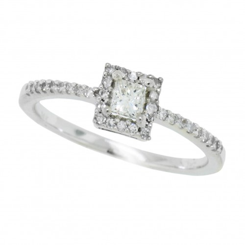 Princess Cut Genuine Diamond Engagement Ring 10Kt White Gold 0.25 cttw