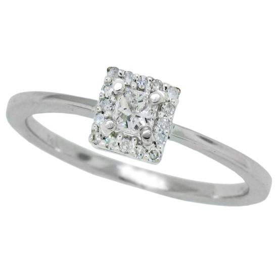 Princess Cut Diamond Promise Ring 10Kt White Gold 0.27 cttw