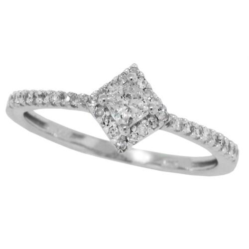 Princess Cut Genuine Diamond Engagement Ring 10Kt White Gold 0.28 cttw