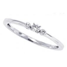 0.10 ct.t.w.Genuine Diamond Three Stone Ring 10Kt White Gold