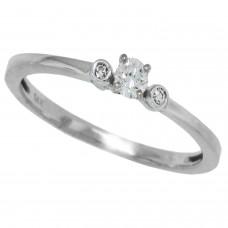 0.12 ct.t.w.Genuine Diamond Three Stone Ring 10Kt White Gold