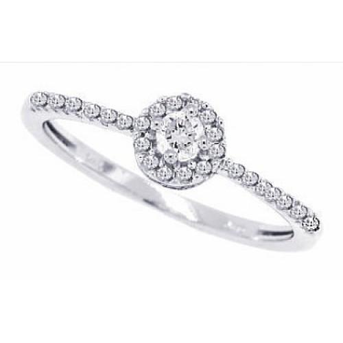 Diamond Halo Engagement Ring 10Kt White Gold 0.35 cttw