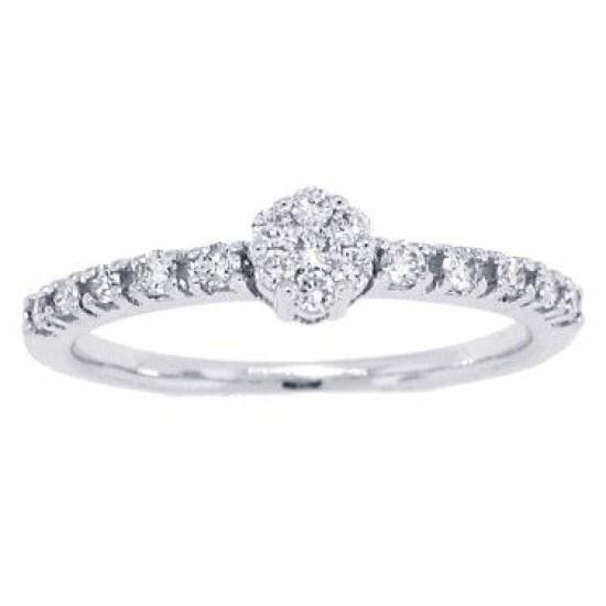10Kt White Gold Women's Round Diamond Cluster Ring (0.54ct)