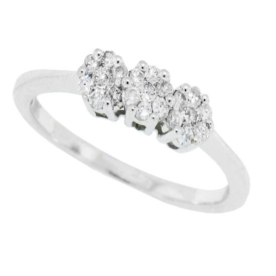 1/2ct Genuine Diamond Cluster Ring in 10Kt White Gold