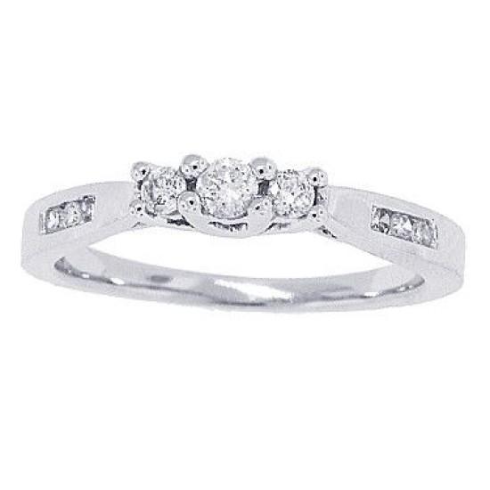 1/4ct Three Stone Diamond Three Stone Engagement Ring in 10Kt White Gold