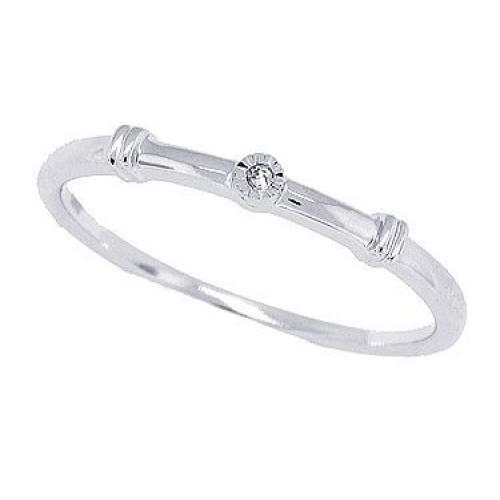 0.01 ct.t.w.Genuine Diamond Promise Ring 10Kt White Gold
