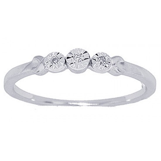 Genuine Diamond Accent Three Stone Promise Ring in 10Kt White Gold