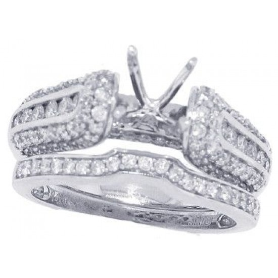14Kt White Gold Diamond Semi-mount Wedding Ring Set,  1.04ct