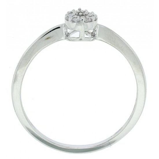 Pear Shaped Cluster Diamond Ring in 14Kt White Gold
