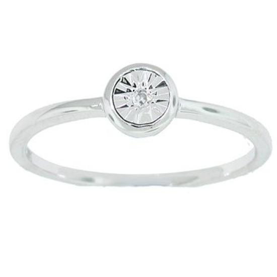 Illusion Set Diamond Promise Ring in 14Kt White Gold