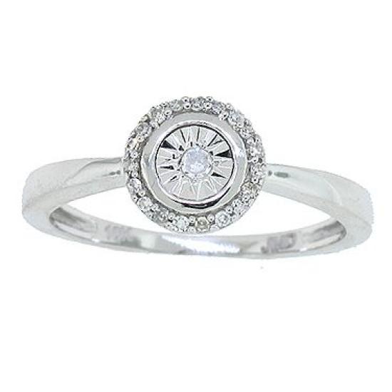 Illusion Set Diamond Promise Ring in 10Kt White Gold