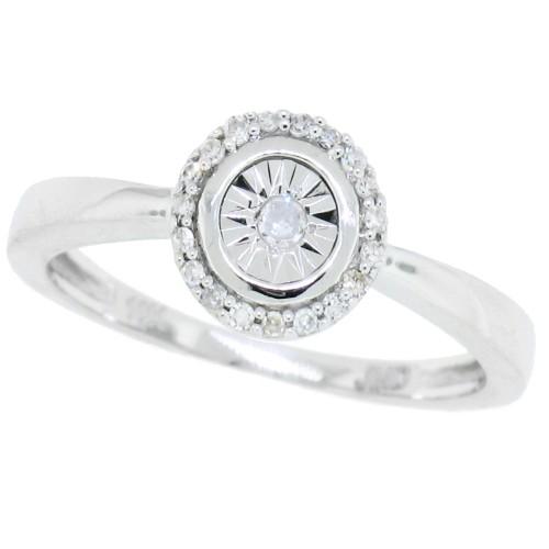 0.08 ct.t.w.Illusion Set Diamond Promise Ring 10Kt White Gold