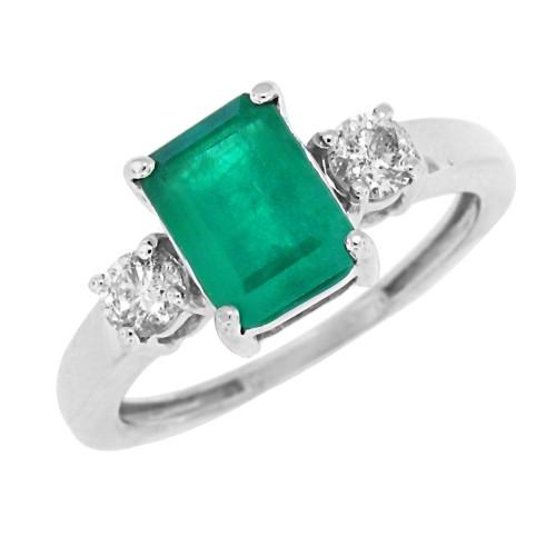 Emerald Diamond Three Stone Ring 14Kt White Gold Emerald Cut