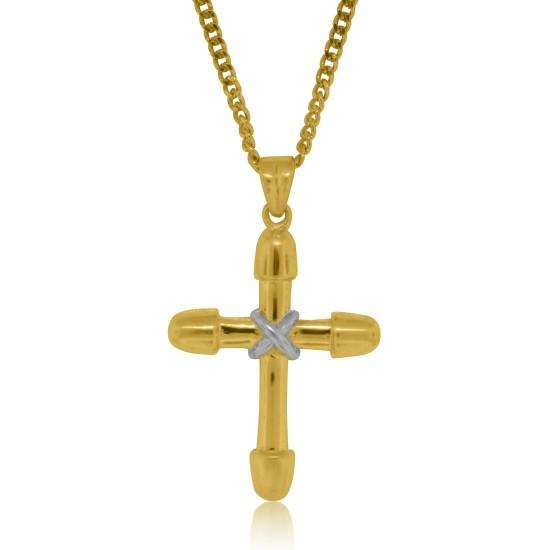 Cross Pendant two tone Sterling Silver w/chain