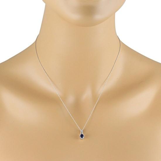 Genuine Sapphire Diamond Pendant Necklace 10Kt White Gold