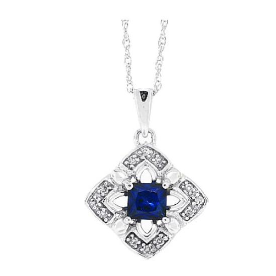 0.45 ct.t.w.Princess Cut Genuine Sapphire and Diamond Pendant Necklace 10Kt White Gold