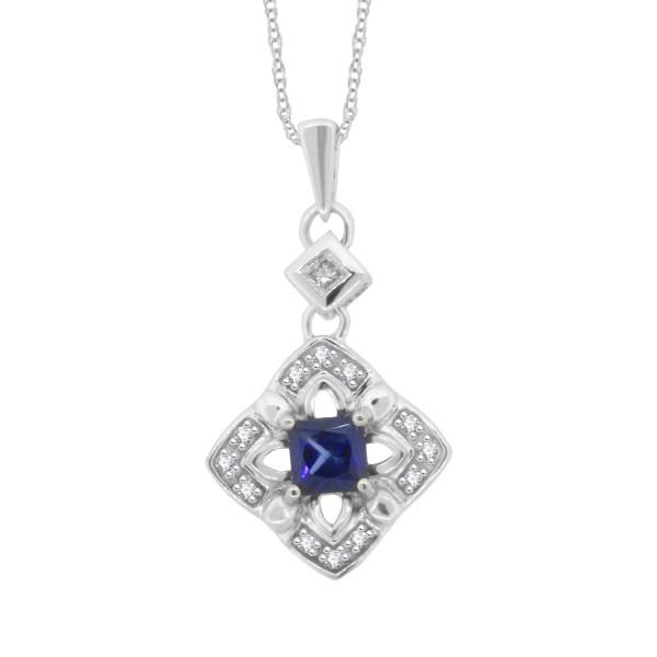 048 cttwincess cut genuine sapphire diamond pendant necklace twincess cut genuine sapphire diamond pendant necklace 14kt white gold aloadofball Images