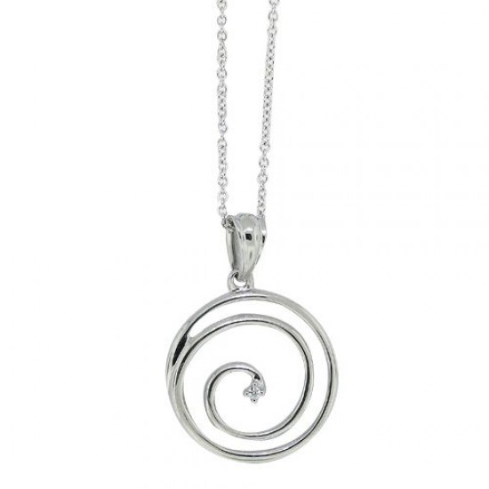 0.01 ct.t.w.Cubic Zirconia Circle Pendant Necklace Sterling Silver