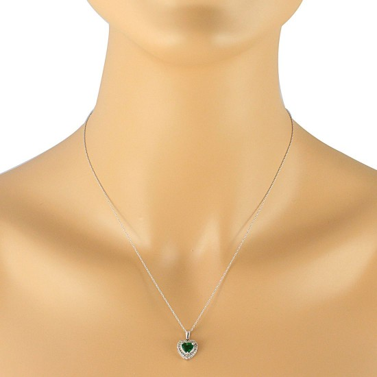 0.80 ct.t.w.Created Emerald Diamond Heart Pendant Necklace Sterling Silver