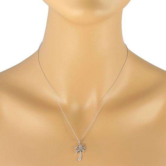 0.05 ct.t.w.Diamond Palmetto Pendant Necklace 14Kt White Gold