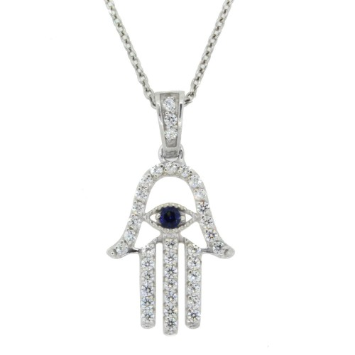 Jewish Symbol, Hand of God Hamsa Pendant, Sterling Silver, With Swarovski Zirconia