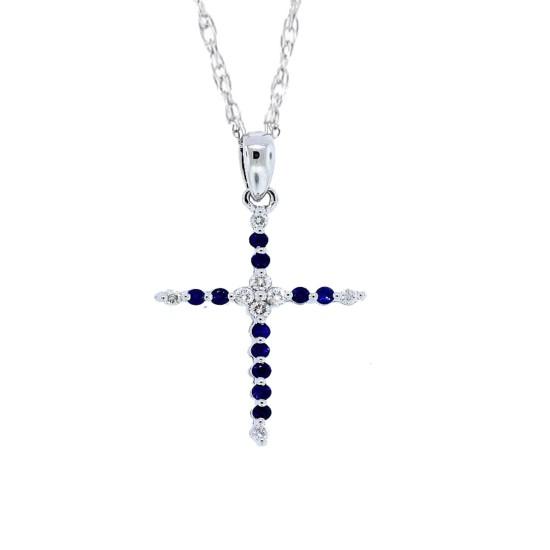 Sapphire Diamond Cross Pendant Necklace 14Kt White Gold