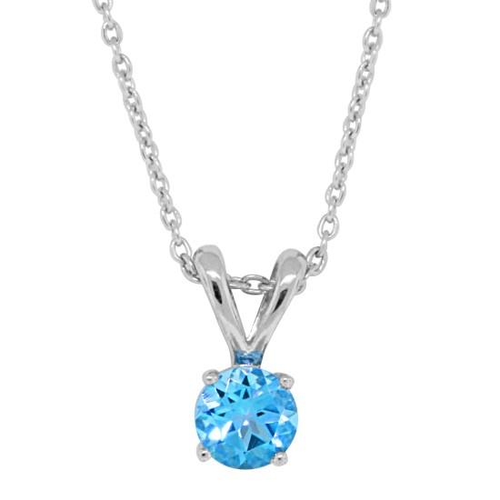 December Birthstone, Genuine Blue Topaz Pendant,Sterling Silver