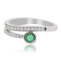 Emerald Diamond Right Hand Ring, 14Kt White Gold