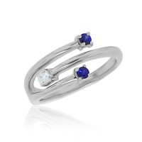 Three Stone Sapphire and Diamond Ring 14Kt White Gold, 0.44cttw