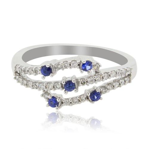 Sapphire Diamond Right Hand Ring, 14Kt White Gold