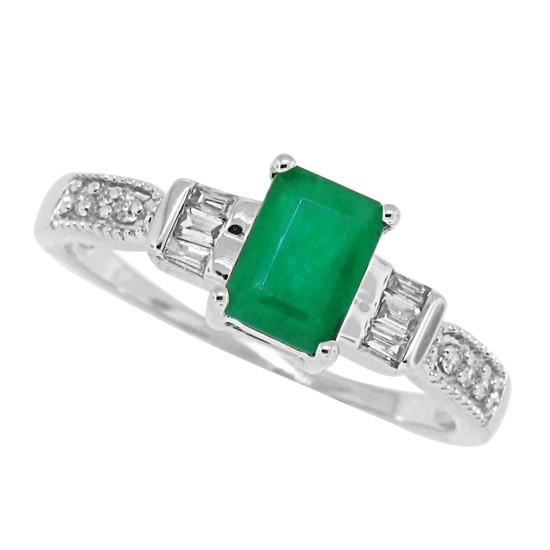 Emerald Cut Emerald Diamond Ring 10Kt White Gold