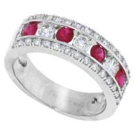 1.04 ct.t.w.Genuine Ruby Diamond Wedding Band 14Kt White Gold