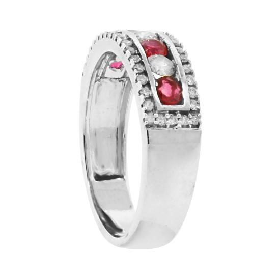 Genuine Ruby Diamond Wedding Band 14Kt White Gold