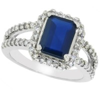 Blue Sapphire Diamond Engagement Ring 14Kt White Gold, Emerald Cut