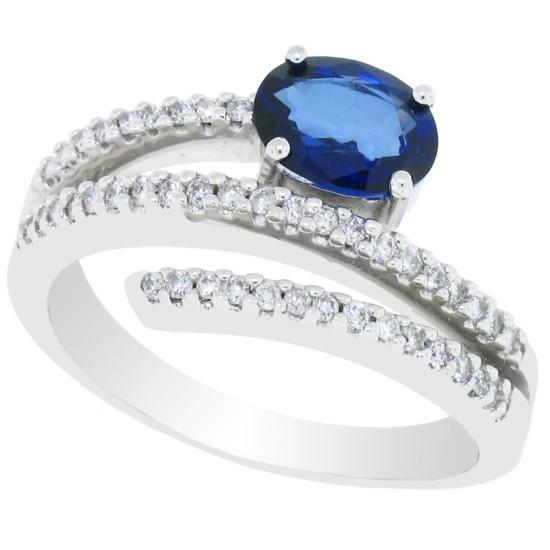 Blue Sapphire Diamond Ring 14Kt Gold September Birthstone