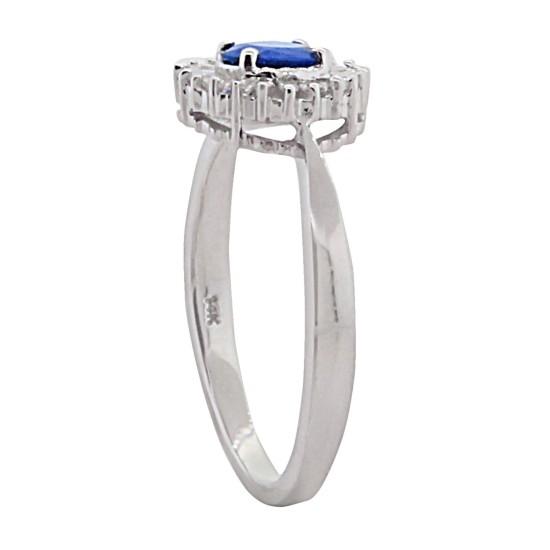 Natural Sapphire Diamond Engagement Ring 14Kt White Gold