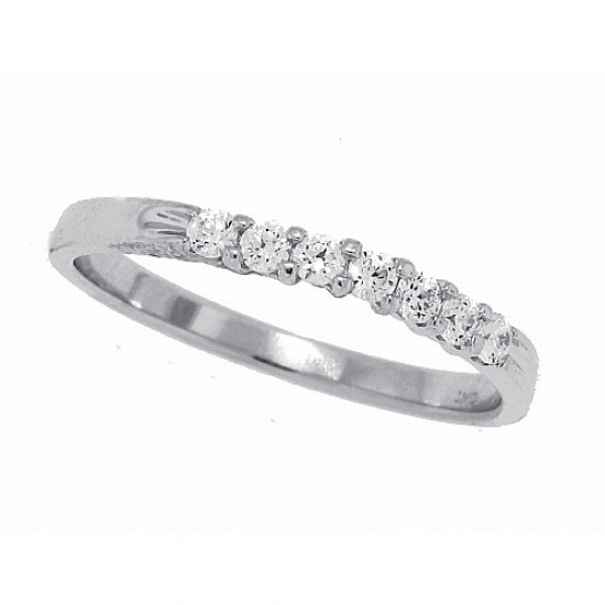 Seven Stone Cubic Zirconia Wedding Band Sterling Silver 1/4ct