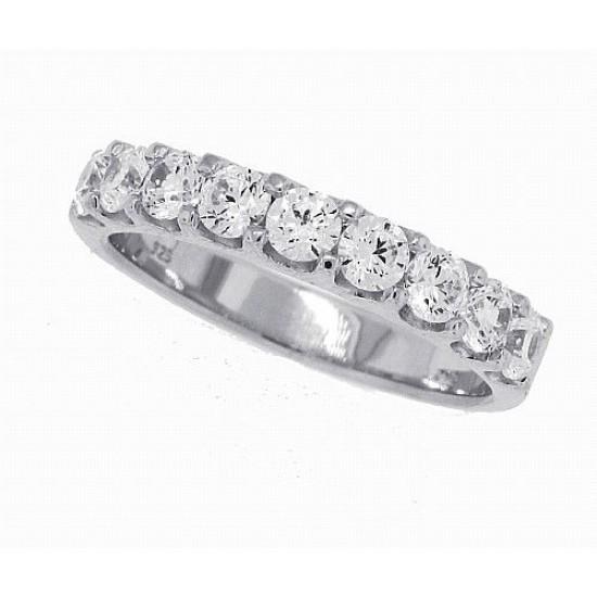 Cubic Zirconia Wedding Band Sterling Silver, Nine Stone, 1carat